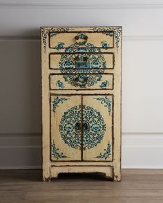 Three-Drawer Antique Wooden Cabinet at Horchow.  I LUV this!  It would be PERFECT for my 21 inch alcove - if only it wasn't 22 inches!!  Anyone know where to find a 21 inch version??