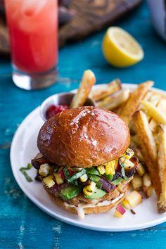 Lobster Burgers w/Browned Butter Lemon Aioli + Basil Corn Salsa, Bacon 'n' Avocado | halfbakedharvest.com