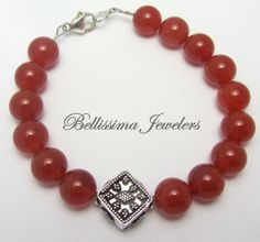 Stackable Bracelet, Natural Carnelian Beaded Jewelry, Mix and Match Colors for a One of a Kind Look via Etsy