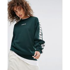 adidas Originals Tnt Tape Crew Neck Sweat In Green (€68) ❤ liked on Polyvore featuring tops, hoodies, sweatshirts, green, crew neck sweatshirts, oversized crew neck sweatshirt, retro jerseys, oversized sweatshirt and retro crew neck sweatshirts