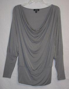 Bebe Gray Cowl Neck Tunic Top Blouse Small Long Sleeve Women's Fashion
