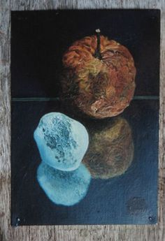 Geoff Yeomans rock and apple (oil on zinc) High Art, Detail Art, Art Portfolio, Illustrators, Aqa, Rock, Painters, Decay, Life