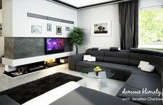 House design Andromeda N m² - Domowe Klimaty Two Story House Design, Two Story Homes, House Entrance, Drawing Room, Ground Floor, Floor Plans, Couch, Flooring, Living Room