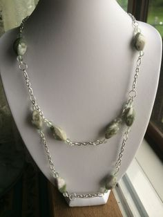 Double chain with Peace Jade stone. Earrings to match.  N59 Sold