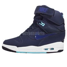 on sale f6626 b1133 Wmns Nike Air Revolution Sky Hi Navy Womens Wedges Shoes Sneakers 599410-403