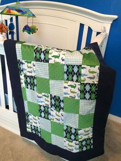 Preppy Baby Boy Quilt by CustomBabyDesign on Etsy