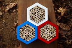 Bee hotel, Insect house, Bumblebee home, Mason bee house, Trianglehotel, Czech republic beehouse by DILNA HAMMER www.dilnahammer.cz