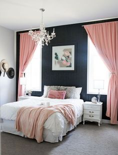 Welcome to my cozy and glamorous bedroom! As they say on TV, this is where the magic happens… and by that I mean this is where I usually end up… Blush Pink Bedroom, Glam Bedroom, Pink Bedrooms, Pretty Bedroom, Bedroom Black, Bedroom Vintage, Home Decor Bedroom, Girls Bedroom, Bedroom Ideas