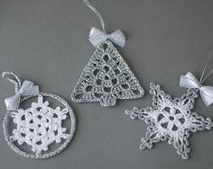 Christmas crochet ornaments White silver decor Set of 3 Two crochet snowflakes one Christmas tree Winter wedding decor Christmas decoration