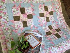 """Triangle Fun quilt by Beth Strub.  """"A perfect size lap quilt made with squares and triangles. Pictured the patterns is in soft pinks and beiges.  This is my travel quilt and it was as many travel miles on it as I do. Hope you enjoy.""""  Get the free pattern: www.freequiltpatterns.info/quilt-pattern-designer---beth-strub---triangle-fun.htm"""