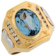 Mens Rings - 10k Two Tone Gold Synthetic CZ Stone Accent Ornate Mens Ring / Mens Jewelry  Site: Project Fellowship