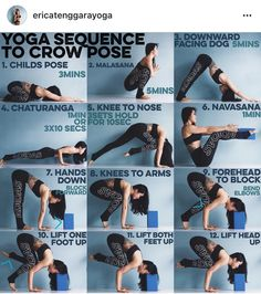 Yoga sequence to crow pose (Step Exercises Shape)