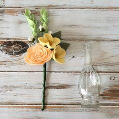 felt flower bouquet & glass vase ranunculus by AleksandriaGrace