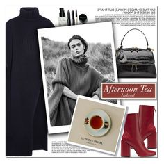 """""""How to Style a Black Sweater Dress with Red Boots for Afternoon Tea in Ireland"""" by outfitsfortravel ❤ liked on Polyvore featuring Victoria Beckham, Jil Sander, Bobbi Brown Cosmetics and Petar Petrov"""