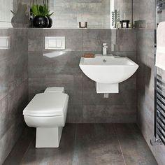 Dunkelgrau gefliestes Badezimmer Wohnideen Badezimmer Living Ideas Bathroom
