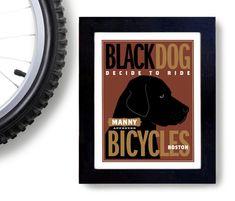 Black Labrador Bicycle Art Print Cycling Art Black Dog by DexMex