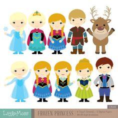 Snow Princess Digital Clipart and Papers Frozen por LittleMoss