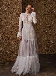 "Bohemian dress from Nurit Hen ""Golden Touch"" 2018 Bridal collection. #bride #wedding #weddingdress #bridetobe #designer #fashion #bridalfashion #collection #luxury #weddingdress #bridaldress #glamorous #weddingshoes #weddinghair #shopping #fashiontips #fabfashionfix #nurithen #couture #bridalcouture"