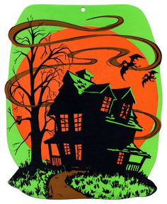 """1970 Beistle 'Haunted House' Fluorescent Die Cut Decoration. One of 4 Designs. Size: 11"""""""