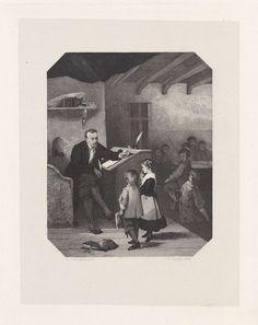 Hendrik D. Jzn Sluyter | Gysbert Japicx, ca. 1650, als schoolmeester, Hendrik D. Jzn Sluyter, 1865 - 1870 | De Friese dichter Gysbert Japicx, lesgevend in een schoolklas, crond het jaar 1650. Hij zit schuin aan zijn lezenaar op een verhoging en kijkt naar een jongen en een meisje die, met een schrift in de hand, naar hem toekomen. Andere kinderen in de klas kijken toe. Onderdeel van de groep staalgravures naar de schilderijen van de Historische Galerij der Maatschappij Arti et Amicitiae.
