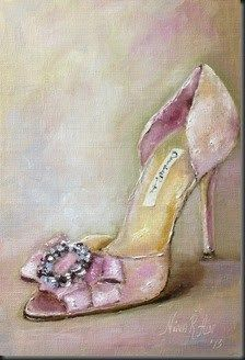 """Shoe Lover. Oscar de la Renta Wedding Shoe. Oil on linen 7""x5"""" original fine art by Nina R. Aide"