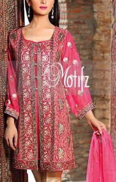 Buy Carrot Pink Embroidered Chiffon Dress by Motifz Chiffon Collection 2015.