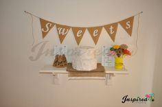 XL Sweets Hessian Fabric Bunting Banner Rustic Shabby Chic Wedding White