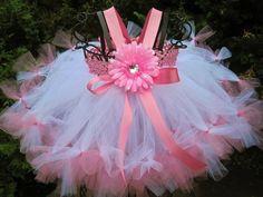 Petti Tutu Dress, TINY PINK on WHITE, Baby 0-24 Months, Empire Waist | ElsaSieron - Clothing on ArtFire