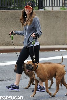 Step and Smile: Jessica Biel smiled while walking her pups in NYC.