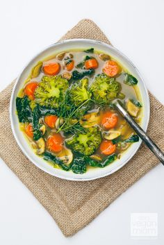 Kale, broccoli, carrot, mushroom soup. The Oh She Glows Cookbook: Eat Your Greens Detox Soup