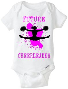 "Cheerleader Baby Gift Onesie: Great for any new parent who is a former Cheerleader or fan - ""Future Cheerleader"" Shown in Pink, but available in any color! Customize by adding baby's name on the back for $2! Available in Preemie Sizes! Available Here: https://www.etsy.com/shop/LittleFroggySurfShop"