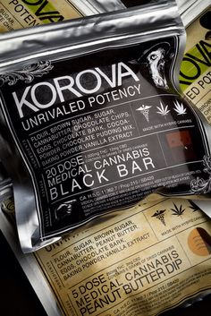 Korova Edibles: Consistent, high-potency tasty medibles. The Black Bar has 20g of dry cannabis with 1000mg of #THC and 12mg of #CBD. Excellent for treating a variety of symptoms including chronic pain and insomnia. Only a small amount is needed for an eff