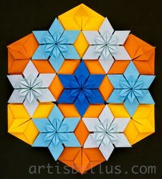 Origami Maniacs: Blue-Eyed Grass Flowers - Origami Quilt Designed and Folded by Marcela Brina