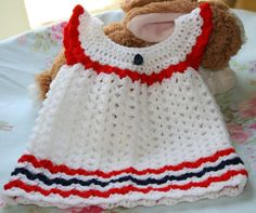 Newborn baby crochet dress Handmade baby girl clothes Reborn baby doll White red black crochetyknitsnbits Layette Baby gifts 0 - 3 months