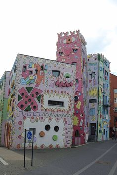 A Psychedelic and Cartoons Painted Building in Germany