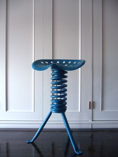 """Industrial """" Metal Spring Stool """"  from NY"""
