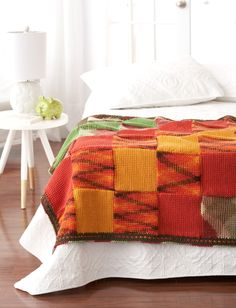 Woven Blocks Blanket (Tunisian stitch) - easy (free pdf instructions - stash buster)