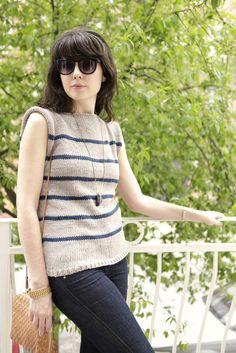 Free Knitting Pattern: No Sew Striped Breathless Sweater