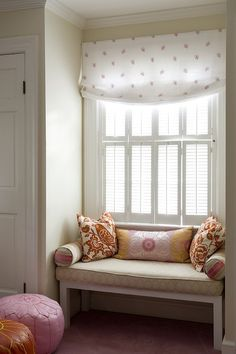 Finnians Moon Interiors: Adorable window seat in girls room with white & pink roman shade, white bench with . My Room, Girl Room, Girls Bedroom, Bedroom Decor, Spare Room, Design Bedroom, Bookshelf Design, Red Pillows, Cozy Nook