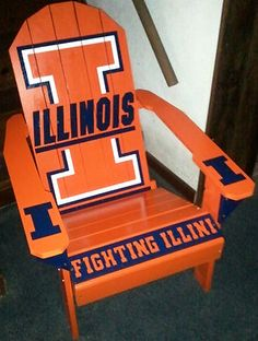 University of Illinois Fighting Illini Adirondack Chair - for the new deck. Illinois Football, Illinois Fighting Illini, Adirondack Chair Plans, Springfield Illinois, Painted Chairs, Alma Mater, How To Memorize Things, University, College Sport