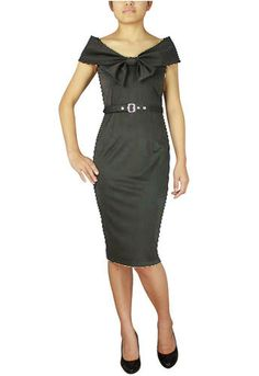 Bow Collar Pencil Dress by Amber Middaugh  Only $25.17   (with Coupon: AMBER37  37% off the  regular price)-- This dress is made from a Polyester Rayon mix which is a real nice fabric. The construction is spot on and it is just a beautiful dress.