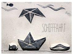 """Stempelset """"Schifffahrt"""" handgeschnitzt von halfbird auf DaWanda.com"""