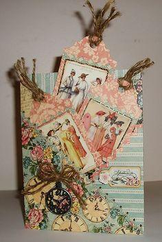 Tag pocket card - Graphic 45 A Ladies Diary Graphic 45, Handmade Tags, Handmade Birthday Cards, Pocket Envelopes, Card Tags, Card Kit, Pocket Cards, Paper Tags, Heartfelt Creations