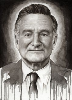 Robin Williams Watercolor Portrait Art Print by idlemindsworkshop