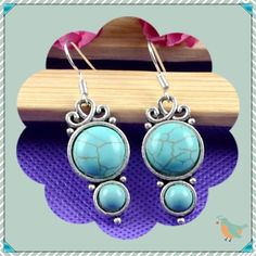 Turquoise and Tibet Silver Drop Earrings NEW Stylish boho look earrings NEW Jewelry Earrings