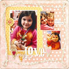 Design by Jenna Wilson To highlight this sweet Valentine's Day layout, Jenna used a full-page chipboard frame, which she painted, stamped, and sanded. The intricate design gives a finished look and the weighty chipboard design holds up well to the multiple techniques.  SOURCES: Patterned paper: Chatterbox. Font: Times New Roman. Chipboard, stamps: Technique Tuesday./