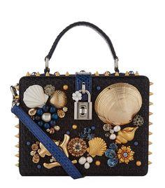 Accessories: Handbags Dolce & Gabbana Seaside Embellished Top Handle Bag