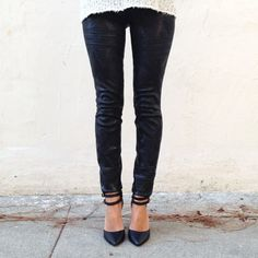 Embossed Leather Leggings