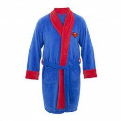 Superman Adult Blue With Red Logo Terry Cloth Hooded Bath Robe www.CuffCrazy.com