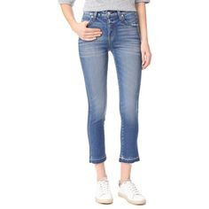 AMO Babe High Rise Skinny Jeans (353 AUD) ❤ liked on Polyvore featuring jeans, something blue, high rise cropped jeans, frayed cropped jeans, frayed skinny jeans, skinny jeans and blue jeans